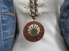 Sonne Lange Halskette Bettelkette Leder Lagenlook Braun Gold 80 cm Versand frei