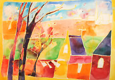 Vintage abstract cityscape watercolor painting signed