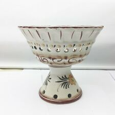 VINTAGE FOOTED BOWL DISH AC SIGNED PORTUGAL POTTERY 520 HAND PAINTED COIMBRA