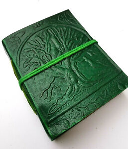 Green Tree Leather journal notebook pentacle Book of Shadows steampunk Wicca