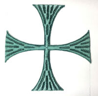 """Vintage Square Cross Embroidered Sew-on Blue Green E 5""""1/2 Emblem Patch 2 Pcs"""