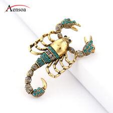 Retro Women Brooches Gold Rhinestone Enamel Scorpion Insect Brooch Pins Jewelry