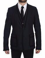 DOLCE & GABBANA Blue Torero Slim Fit Stretch Blazer Vest IT52/ US42/ L RRP $2700