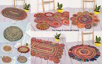 Geflochtener Rand Gestreift Teppich Natürliche Jute & Mehrfarbig Stoff Viele Gr