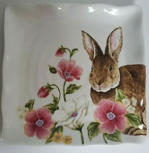 New Maxcera EASTER Cake Plate Serving Dish Bunny Rabbit Spring Floral