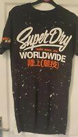 Size Small Superdry Mens T-Shirt M10023TQ Black Longline
