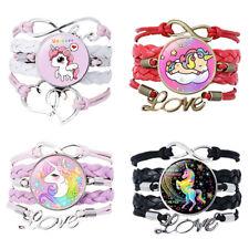 Unicorn Gem Woven Bracelet Heart Infinity Love Bangle Charm Leather Jewelry Gift