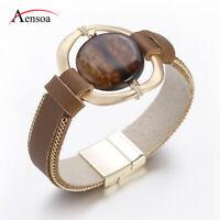 Fashion Women Men Natural Stone Chain Leather Bangle Cuff Wrap Bracelets Gifts