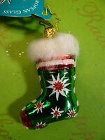 Christopher Radko Cozy Tozy Asst Green Glass Ornament