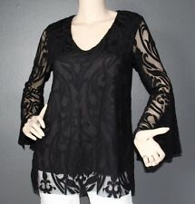 SIZE MEDIUM  LACE TOP, V NECK BELL SLEEVE, MADE IN USA, LA