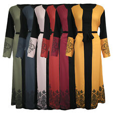 Womens Ladies Belted Floral Swirl Print Long Cocktail Maxi Dress Abaya Jilbab UK
