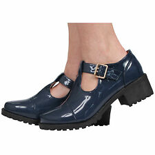 Womens Ladies Mary Jane T-bar Buckles Block Mid Heel Court Shoes Size 3-8 Dark Navy Patent UK 7 EU 40