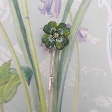 Pin Good Luck Brooch Hand Painted Small Four Leaf Clover Pin Rhinestone Clover