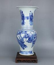 Chinese porcelain blue white painted character design large vase bottle w signed