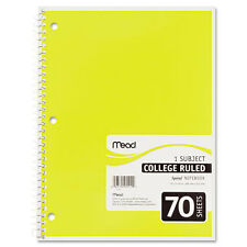 Spiral Bound Notebook, College Rule, 8 x 10-1/2, White, 1  Subject 70 Sheets/Pad