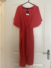 topshop size 16 Coral Red Wrap Dress New With tags