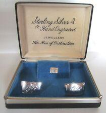 Vintage Sterling Silver Hand Engraved Cufflink Set For Men of Distinction