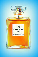 Chanel blue and yellow bottle Art A4 print