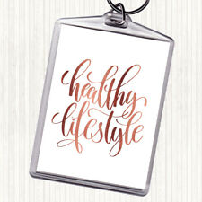 Rose Gold Healthy Lifestyle Quote Bag Tag Keychain Keyring