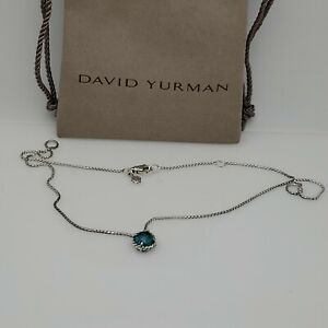 David Yurman Chatelaine Blue Topaz Pendant Necklace in Sterling Silver