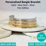 Personalised Engraved Custom Bangle Bracelet - Gold Silver Rose Gold - Giftbox