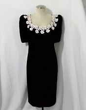 VTG CACHET BY BARI PROTAS  BLACK Velvet dress Ivory lace Pearls Rhinestones 8/10