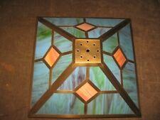 "Vintage Mission Arts & Crafts Slag Glass 16"" Square Brass Table Lamp Shade NICE"