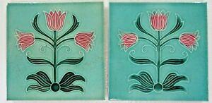 """Antique Glazed porcelain Majolica Ceramic tile 6""""x 6"""" Art Nouveau Qty-2"""