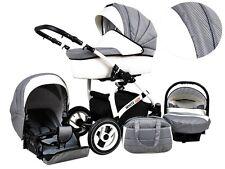 Kinderwagen Whitelux Carbon, 3 in 1- Set Wanne Buggy Babyschale Autositz
