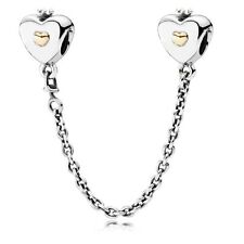 Authentic PANDORA Silver & 14K Gold Heart & Crown Safety Chain 791878-05CM