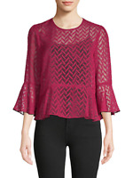 BCBG MAX AZRIA NWT $158 Sheer Bell Blouse Top in Beet Red Size Medium