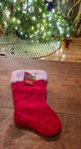 "NWT Merry Brite Red Velvet Christmas Stocking White Plush Fur Cuff 13"""