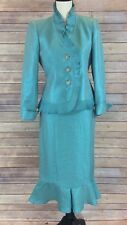 Kasper Women's Size 4  Blazer Skirt 2 Piece Suit Aqua Blue Mother of the Bride