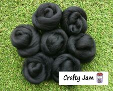 Needle Felting Black Corriedale/Merino. Felting Wool Rovings 45g