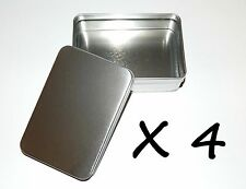 4 X 6-oz Rectangular Slip Lid Survival Metal Tin Can Box Container Use 4 Crafts