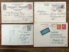 4 X FINLAND OLD POSTCARD COLLECTION LOT UIMAHARJU TO ENGLAND GERMANY !!