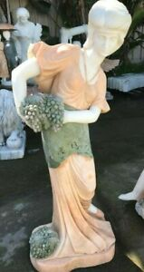 Multi-Colored Marble Statue of Woman Harvesting Grapes