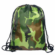Euro Camo Camouflage Drawstring Gymsac Swimming PE Hiking Camping Bag