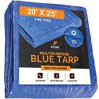 20' X 25' Multi Purpose Blue Poly Tarp 5 mil Cover Tent Shelter RV Camping Tarp