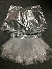 Costume Dance Shorts Silver w/ Tulle Bustle Lot of 11 Sizes MC (4) LC (4) SA (3)