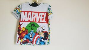 Marvel Clothing Avengers Hulk Thor Iron Captain America Man T Shirt Size 5-6 Yrs
