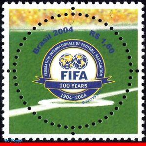 2924 BRAZIL 2004 FIFA CENT., SPORT, SOCCER FOOTBALL, ROUND STAMP, MI# 3357, MNH