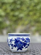 Oriental Chinese Blue and White Flower Porcelain Planter Perfect for Succulent