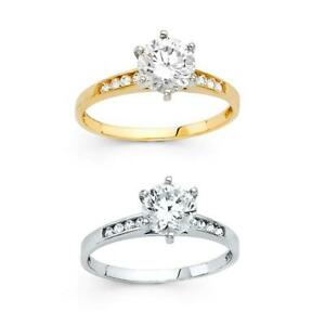 14k Yellow White Gold 1.75ct Solitaire Round CZ Engagement Ring Women Size 5-9