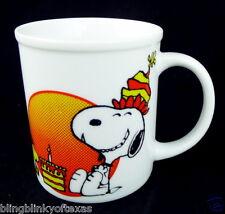 Snoopy Birthday Mug Peanuts Woodstock Porcelain Vintage