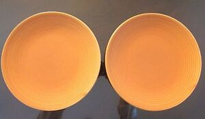 2 Catalina Pottery Stoneware Plates Platters Orange RARE 7in Very Old