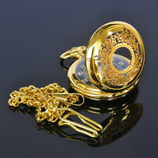 New Gold Plated Mens Analog Hand Winding Mechanical Skeleton Pocket Watch