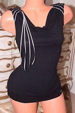 Ted Baker Jean Doux Viscose Mélange Noir Femmes Top T-Shirt Chemisier Taille 2
