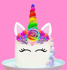 Large Unicorn Rainbow Horn  and Flowers Edible Cake Topper Decorations  #141.