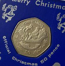 1997 Gibraltar Santa's Sleigh & Reindeers Christmas 50p Coin EF in Display Case